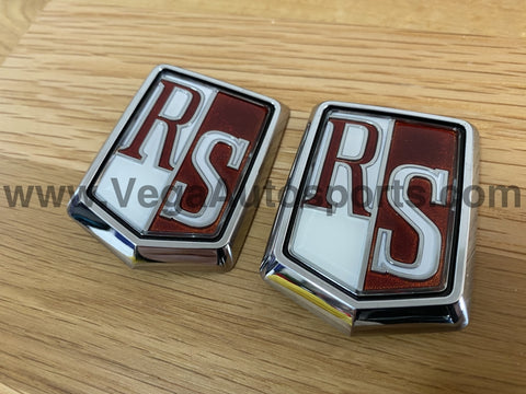 """RS"" Fender Emblem Set (2 Piece) to suit Nissan Skyline RS DR30 - Vega Autosports"