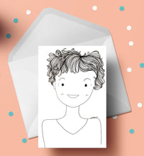"Load image into Gallery viewer, 8"" x 10"" B&W Personalized quirky Portrait / illustration"