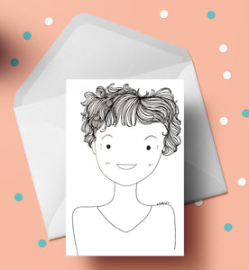"8"" x 10"" B&W Personalized quirky Portrait / illustration"