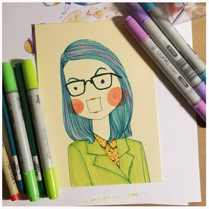 "8"" x 10"" Personalized quirky Portrait / illustration in Color"