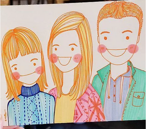 "4"" x 6"" Personalized quirky Portrait / illustration in Color"