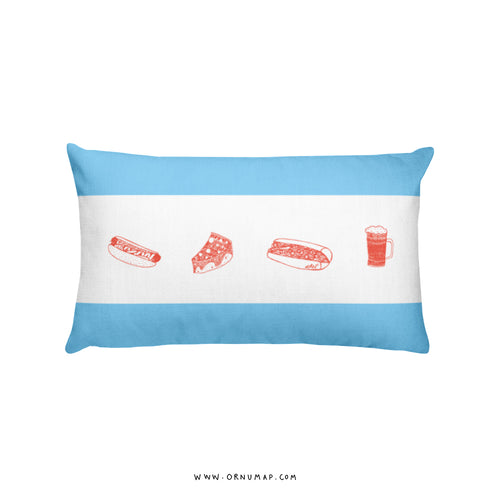Chicago (Food) Fact/Map Premium Pillow (Double sided)