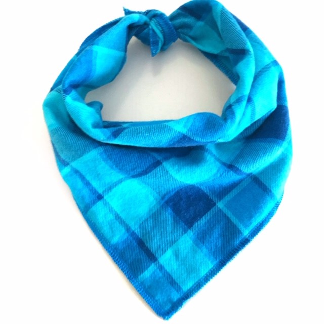 Bright Blue Plaid Dog Bandana