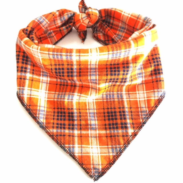 Bright Orange Plaid Dog Bandana