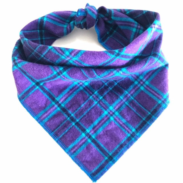 Bright Purple Plaid Dog Bandana