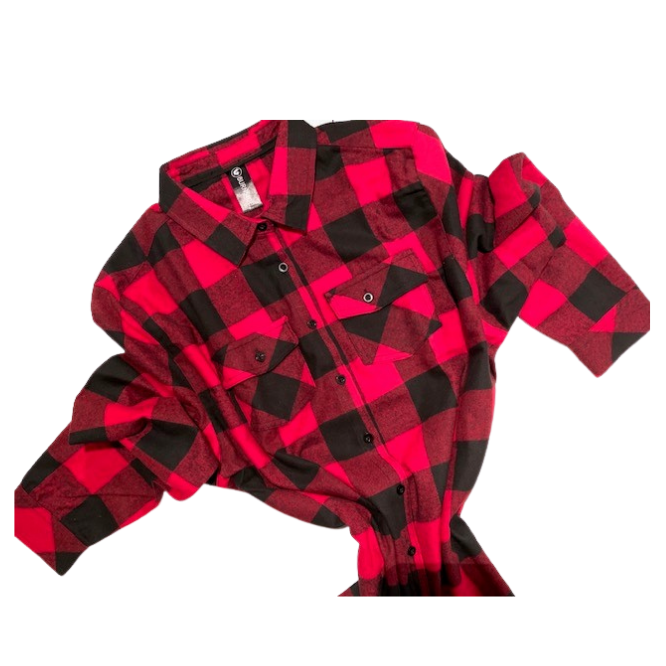 Red Plaid Buffalo button Up Mens