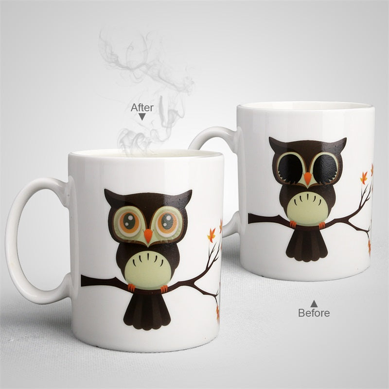Heat Sensitive and Color Changing Ceramic Owl Mug