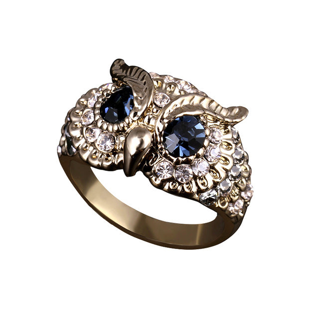 Platinum Plated Rhinestone Owl Ring
