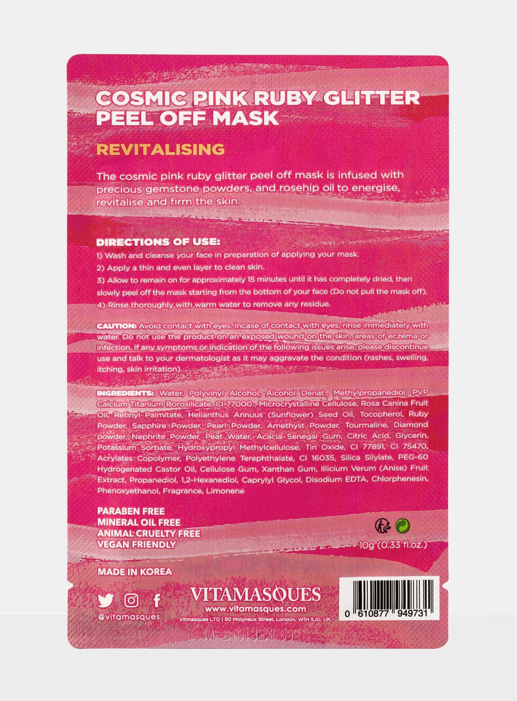 Cosmic Pink Ruby Glitter Peel Off Mask | Vitamasques