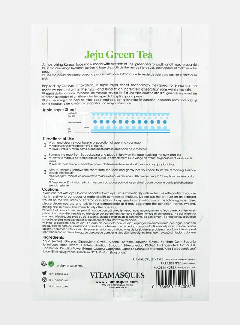 Jeju Green Tea Sheet Face Mask | Vitamasques