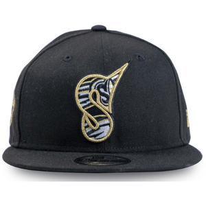 "Black and Gold ""S"" New Era 59Fifty Snapback Cap"