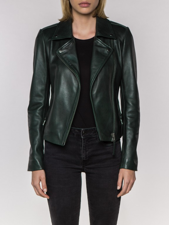 Lara Green Leather Jacket