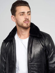 Sculpt Australia mens leather jacket Aaron Fur Collared Leather Jacket