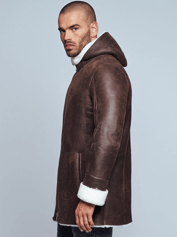 Sculpt Australia mens leather jacket Aiden Brown Shearling Leather Coat