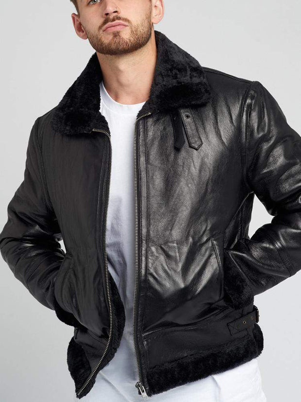 Sculpt Australia mens leather jacket Aviation Pilot Fur Leather Jacket