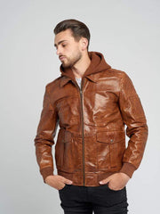 Sculpt Australia mens leather jacket Aviator Hooded Leather Jacket