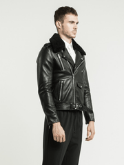 Sculpt Australia mens leather jacket Axel Fur Collared Leather Jacket