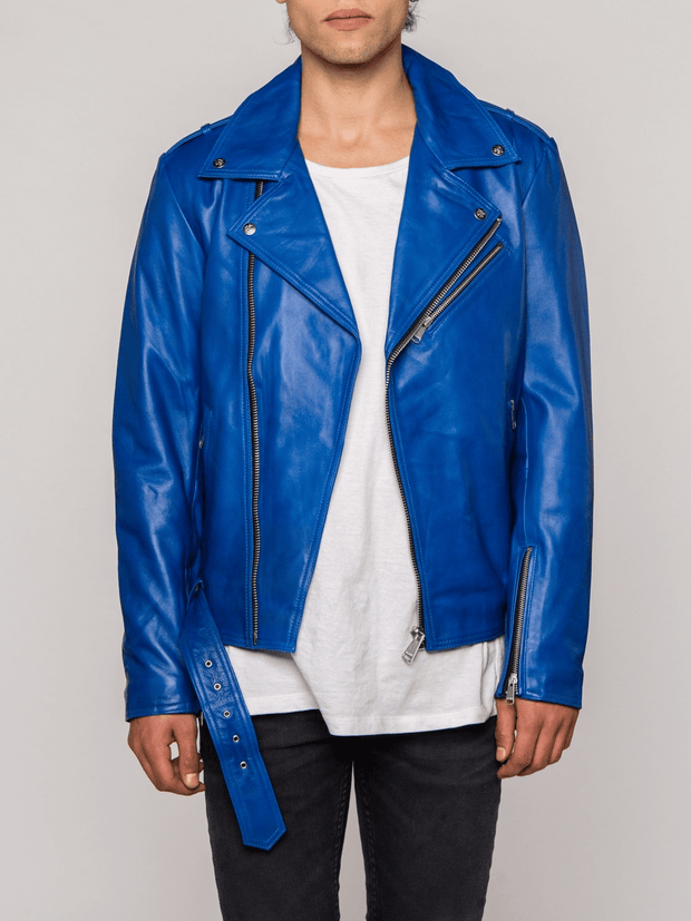 Sculpt Australia mens leather jacket Belted Blue Leather Jacket