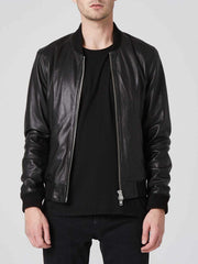 Sculpt Australia mens leather jacket Black Bomber Leather Jacket