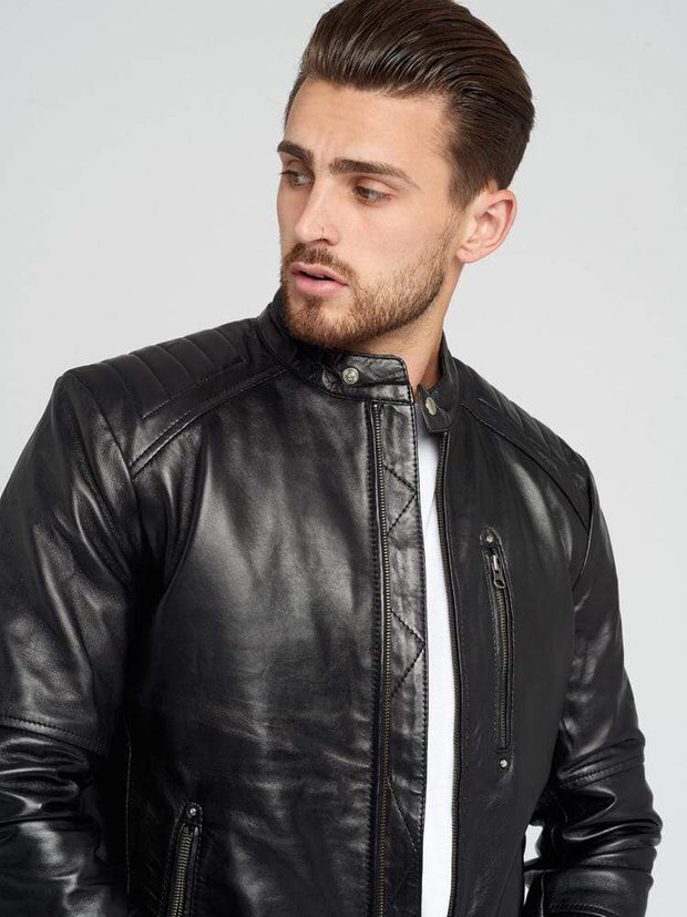 Sculpt Australia mens leather jacket Black Classic Leather Moto Jacket