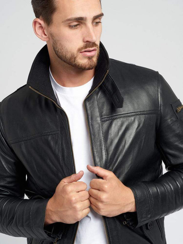 Sculpt Australia mens leather jacket Black Collared Leather Jacket