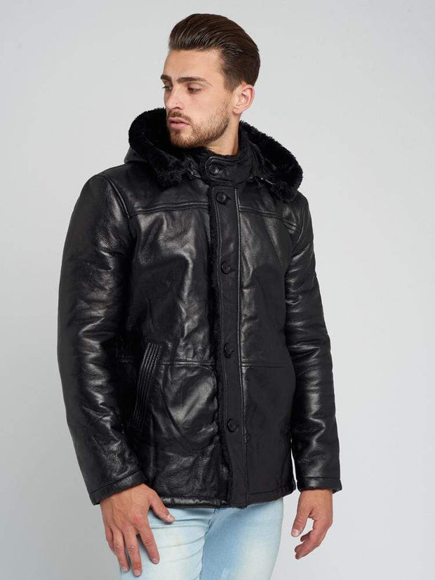 Sculpt Australia mens leather jacket Black Detachable Hood Shearling Leather Coat