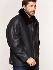 Sculpt Australia mens leather jacket Black Fur Shearling Leather Jacket