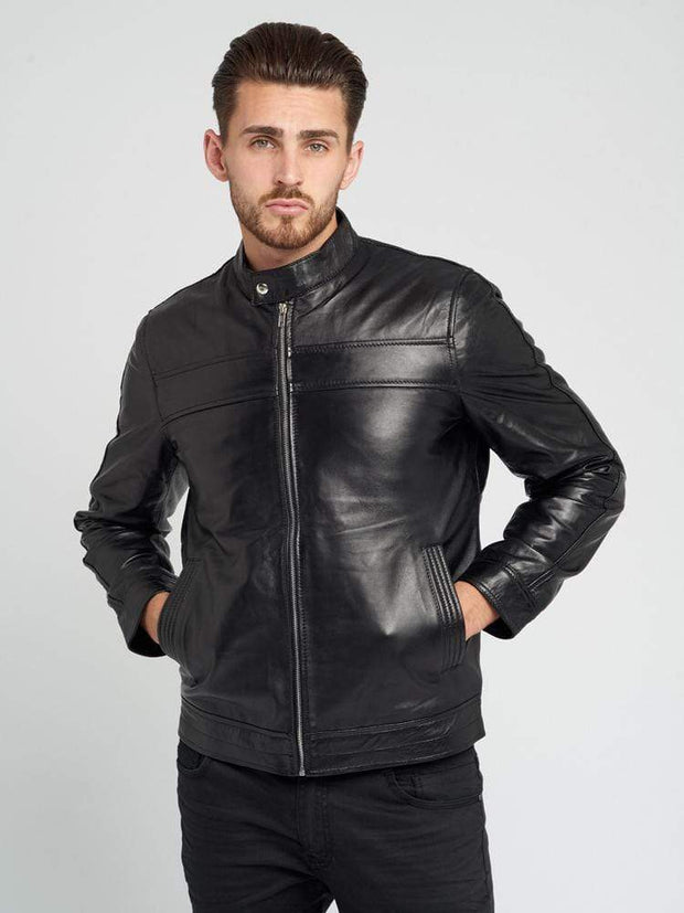 Sculpt Australia mens leather jacket Black Lambskin Leather Jacket