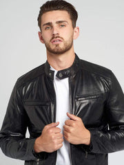 Sculpt Australia mens leather jacket Black Racer Leather Jacket