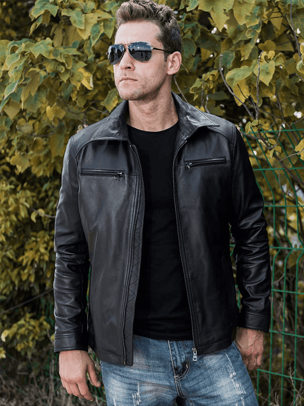 Sculpt Australia mens leather jacket Black Slim Fit Leather Jacket