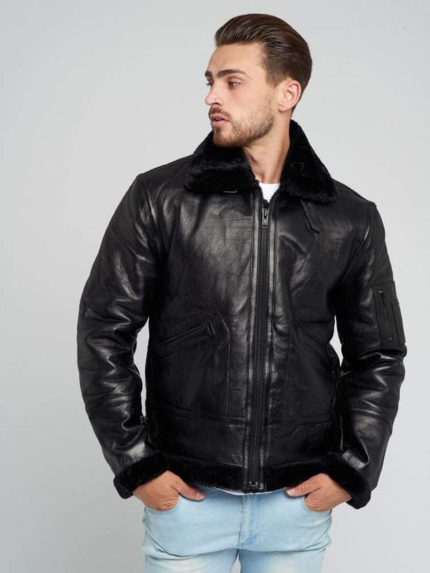 Sculpt Australia mens leather jacket Brodie Black Fur Leather Jacket