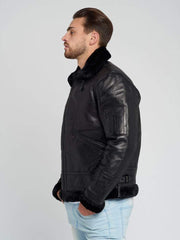 Sculpt Australia mens leather jacket Brodie Black Shearling Leather Jacket