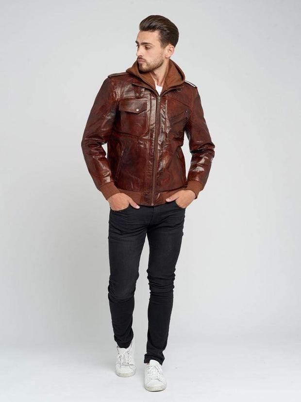 Sculpt Australia mens leather jacket Brown Hooded Leather Jacket