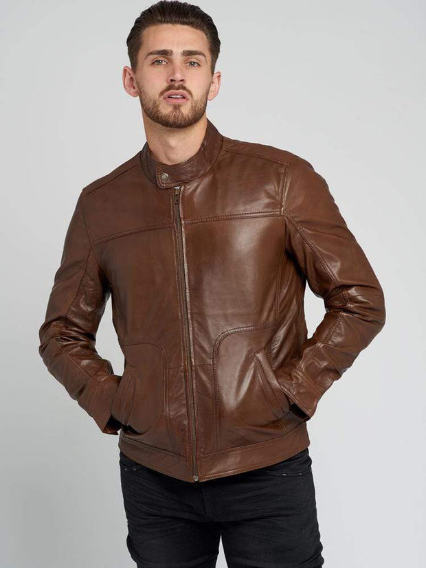 Sculpt Australia mens leather jacket Brown Lambskin Leather Jacket