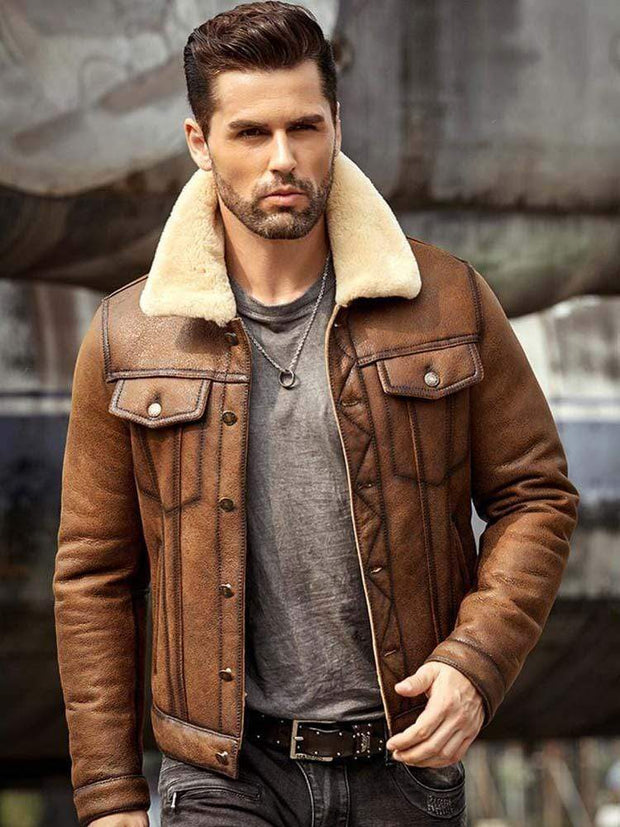 Sculpt Australia mens leather jacket Brown Shearling Leather Jacket