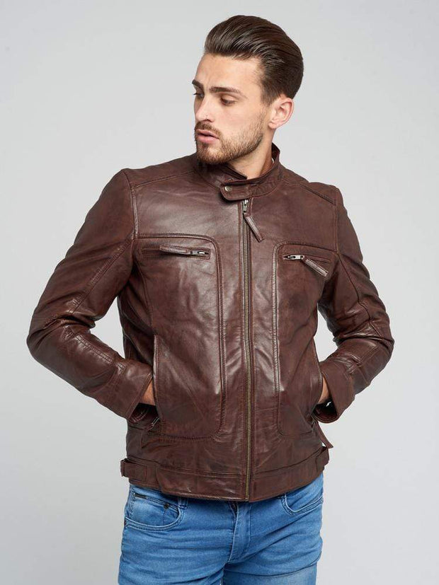 Sculpt Australia mens leather jacket Casey Dark Brown Leather Jacket