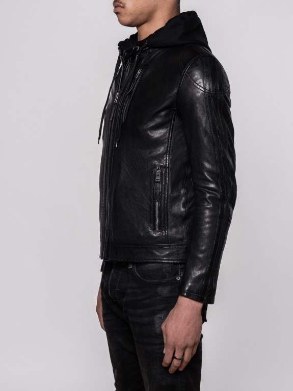 Sculpt Australia mens leather jacket Charles Hooded Leather Jacket