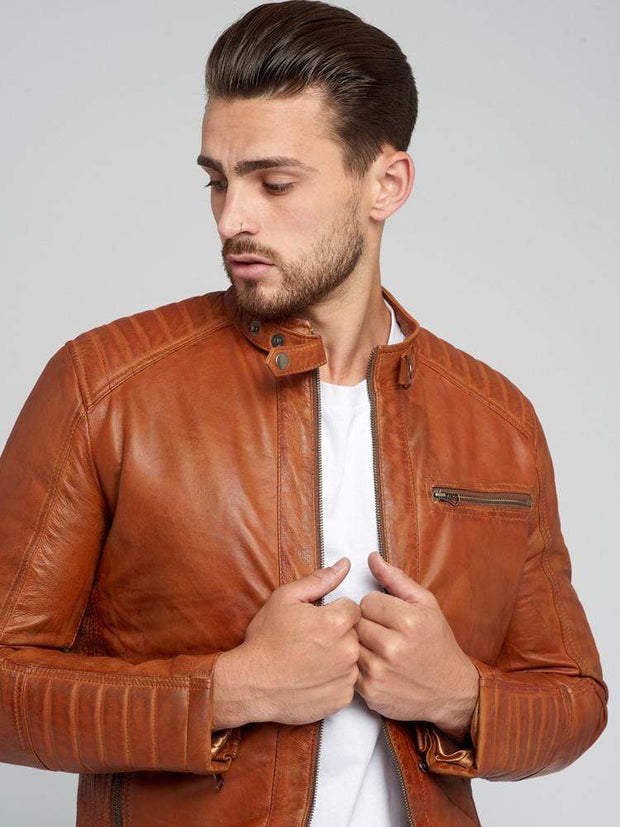 Sculpt Australia mens leather jacket Cognac Quilted Leather Jacket