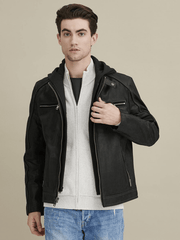 Sculpt Australia mens leather jacket Detachable Hooded Leather Jacket
