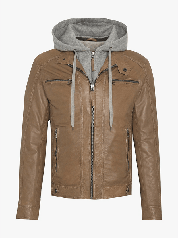 Sculpt Australia mens leather jacket Dylan Caramel Hooded Jacket