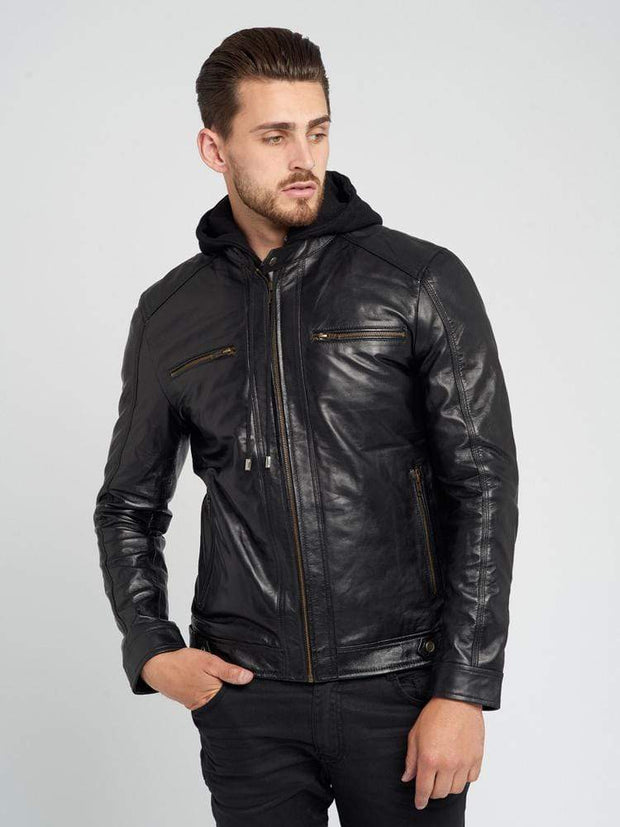 Sculpt Australia mens leather jacket Dylan Hooded Leather Jacket