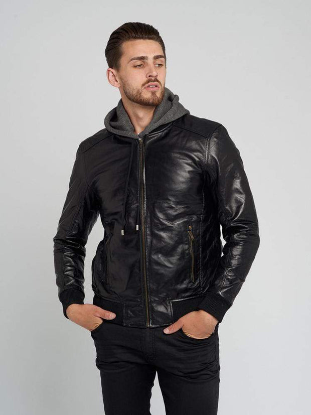 Sculpt Australia mens leather jacket Elmore Men's Hooded Leather Jacket