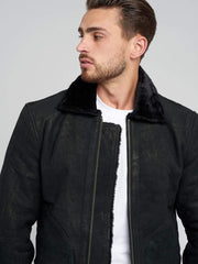 Sculpt Australia mens leather jacket Fur Collar Shearling Leather Coat