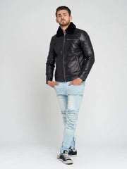 Sculpt Australia mens leather jacket Fur Collared Black Leather Jacket
