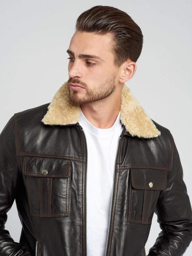 Sculpt Australia mens leather jacket Fur Detachable Collar Leather Jacket