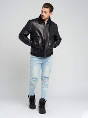 Sculpt Australia mens leather jacket Harrison Fur Collar Leather Jacket