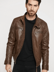 Sculpt Australia mens leather jacket Hooded Brown Leather Jacket