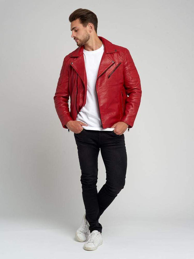 Sculpt Australia mens leather jacket Jayden Red Leather Jacket