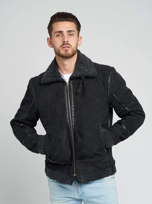 Sculpt Australia mens leather jacket John Suede Shearling Leather Jacket
