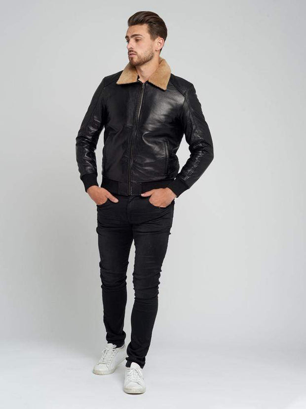 Sculpt Australia mens leather jacket Jose Black Fur Collared Leather Jacket